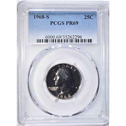 1968-S WASHINGTON QUARTER PCGS PR-69