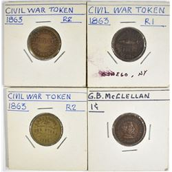 4-DIFFERENT CIVIL WAR TOKENS, NICE