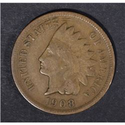 1908-S INDIAN CENT, VG/FINE BETTER DATE