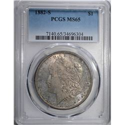 1882-S MORGAN DOLLAR PCGS MS65