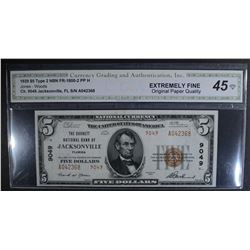 1929 TYPE 2 $5 NATIONAL CURRENCY  CGA EF OPQ