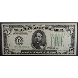 1934 $5 FEDERAL RESERVE NOTE GEM CU