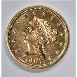 1907 GOLD $2 1/2 LIBERTY  CH BU PL