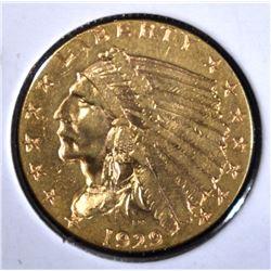 1929 $2 1/2 GOLD INDIAN HEAD  CH BU