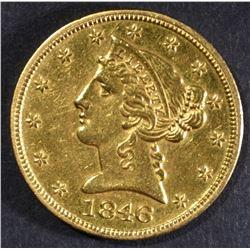 1846 GOLD $5 LIBERTY HEAD  BU