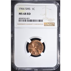 1966 SMS LINCOLN CENT NGC MS68RD