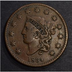 1834 LARGE CENT, CHOICE XF