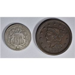 1853 LARGE CENT XF & 1867 N/R LIBERTY NICKEL VF