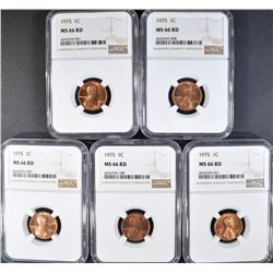 5 - 1975 LINCOLN CENTS NGC MS66RD
