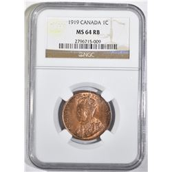 1919 ONE CENT CANADA NGC MS 64 RB