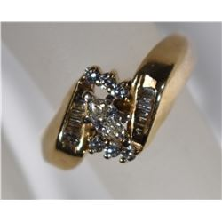 14kt GOLD MARQUISE DIAMOND RING  SIZE 6 3/4