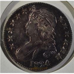1824 CAPPED BUST HALF DOLLAR  CH.AU+