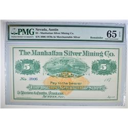 1870's $5 MANHATTAN SILVER MINING CO.