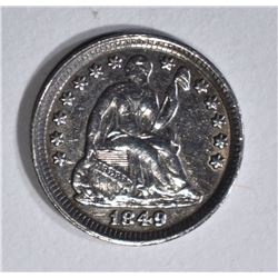 1849 SEATED LIBERTY HALF DIME  AU/UNC