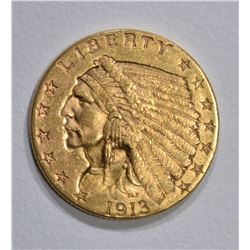 1913 $2 1/2 GOLD INDIAN HEAD  BU