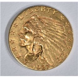1927 $2 1/2 GOLD INDIAN HEAD  BU