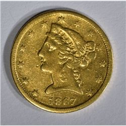 1867-S $5 GOLD LIBERTY HEAD  AU