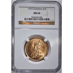 1914 CANADA $10 GOLD NGC MS 64