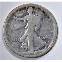 1916-S WALKING LIBERTY HALF DOLLAR  VG