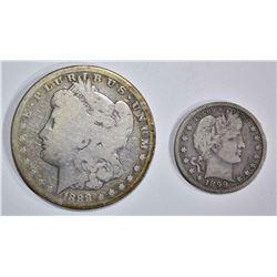 2 COIN LOT: 1899-O BARBER QUARTER  FINE &