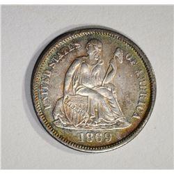 1869-S SEATED DIME  CH BU
