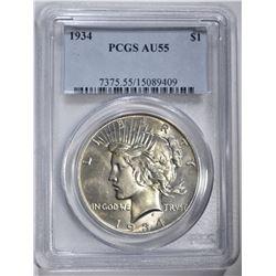 1934 PEACE DOLLAR, PCGS AU-55