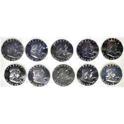 10-PROOF 1962 FRANKLIN HALF DOLLARS