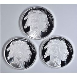 3-INDIAN/BUFFALO SILVER ROUNDS