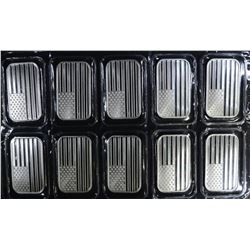 10-ONE OUNCE .999 SILVER AMERICAN FLAG BARS