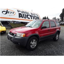 I3 --2001 FORD ESCAPE XLT SUV, RED, 296,272 KMS