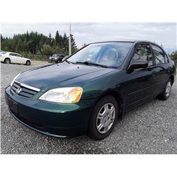 L2 --  2001 Honda Civic DX , Green , 218477  KM's