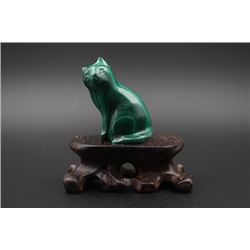 "A Malachite Carved ""Cat"" Decoration."