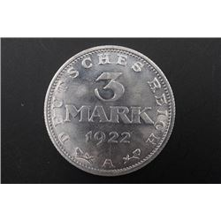 1922 3 Mark Deutsches Reich, Verfassungstag 11, August Coin.
