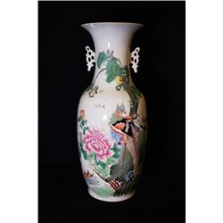 "A Large Famille-Rose ""Flora and Birds"" Vase with Two Ears."