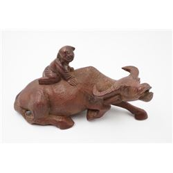 "A Qing Dynasty Boxwood Carved ""Cowherd"" Decoration."