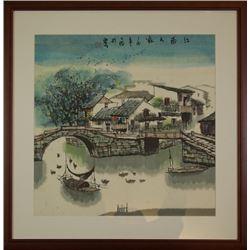 """""""Jiang Da Wei"""" Mark Chinese Ink Painting """"Jiang Nan Ren Jia""""."""
