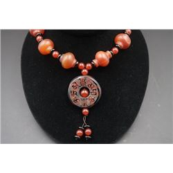 Round Agate Pendant with Agate Necklace.