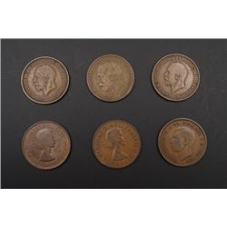 Six British Penny Coins.
