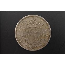 1960 British Half Crown Coin of Elizabeth II