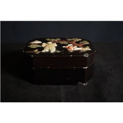 "A Late Qing Dynasty Lacquer Jewelry Box with ""Boy"" Pattern."