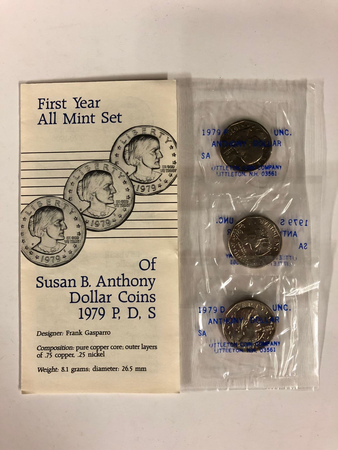 FIRST YEAR ALL MINT SET OF SUSAN B  ANTHONY DOLLAR COINS 1979 P, D, S