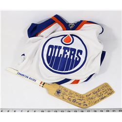VINTAGE OILERS MINI-STICK AND YOUTH OILERS JERSEY