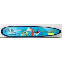 "MARGARITAVILLE MINI SURFBOARD SIGN 30""X5""."