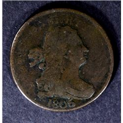 1806 DRAPED BUST HALF CENT, FINE