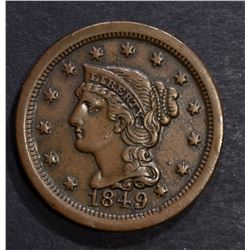 1849 LARGE CENT,  AU N-16 SCARCE
