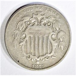 1875 SHIELD NICKEL, VF