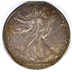 1928-S WALKING LIBERTY HALF DOLLAR, XF+