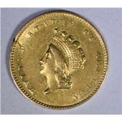 1855-O $1.00 GOLD  AU+