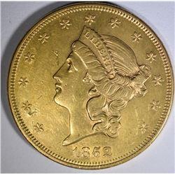 1852 $20 GOLD LIBERTY  AU/BU