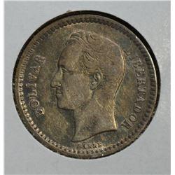 1921 SILVER 1/2 BOLIVAR VENEZUELA